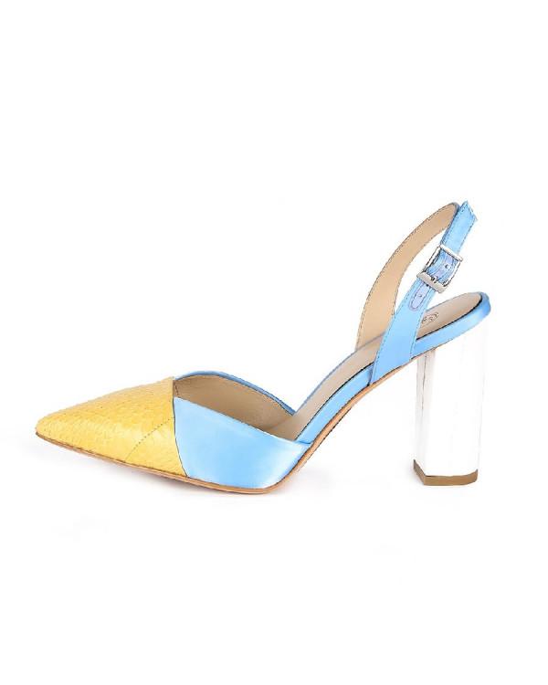 Туфли женские арт. 26-TYP85-23-2 голуб./жёлт./роз.