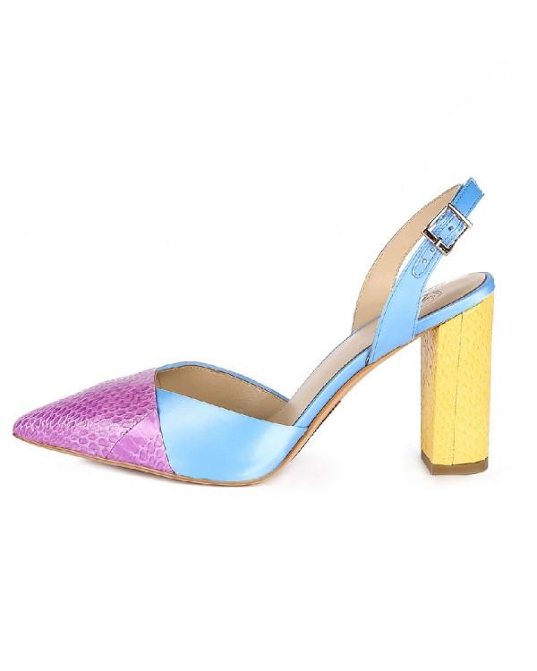 Туфли женские арт. 26-TYP85-23-6 голуб./жёлт./фиол.