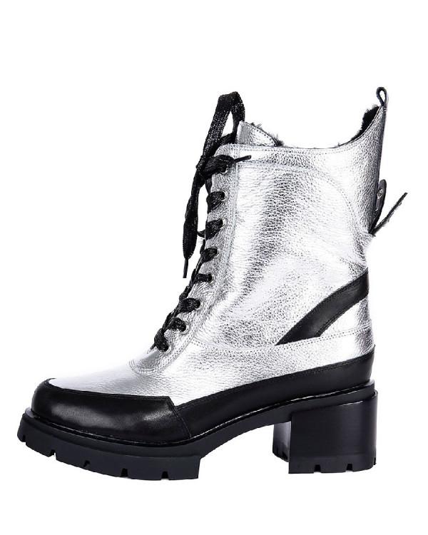 Ботинки женские арт. 26-TYX178-0925-1 серебро/чёрный