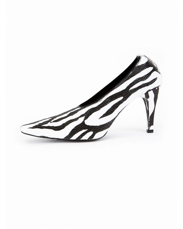Туфли женские арт. 51-IC58-1 чёрный/белый