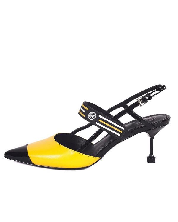 Туфли женские арт. 52-1838-93 чёрный/жёлтый