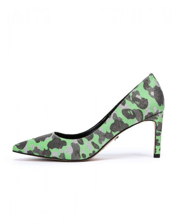 Туфли женские арт. 57-D498-B1735-5 зелёный/серебро