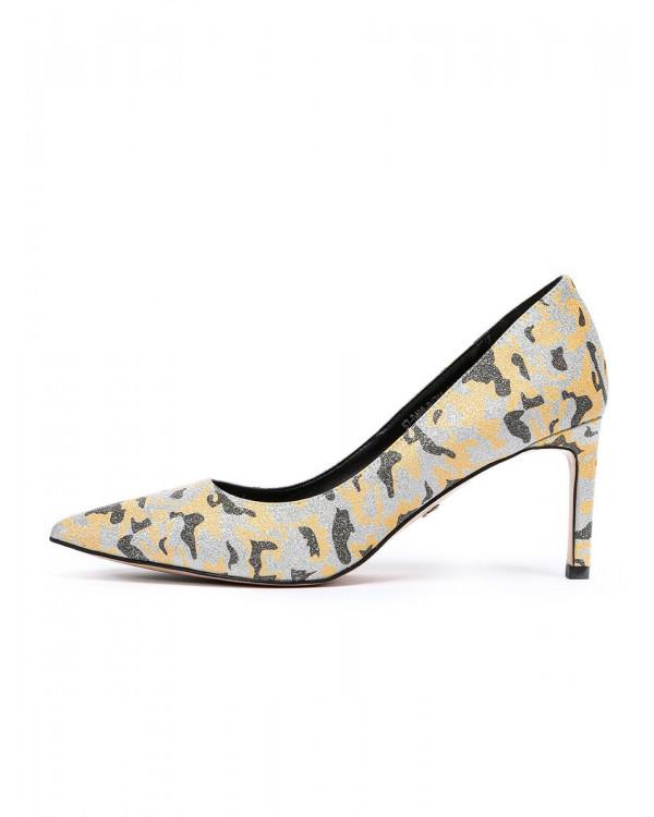 Туфли женские арт. 57-D498-B1735-6 жёлтый/серебро