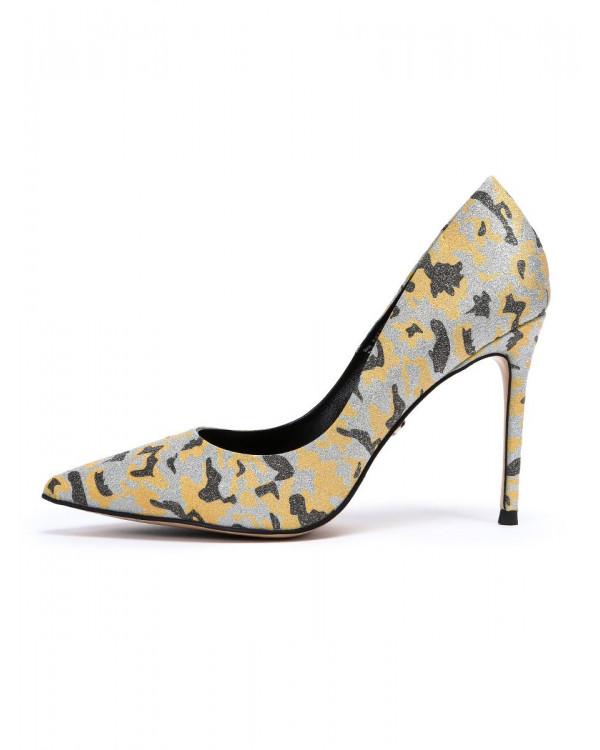 Туфли женские арт. 57-D594-S1833-43 жёлтый/серебро