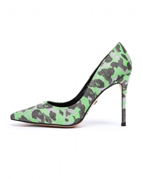 Туфли женские арт. 57-D594-S1833-45 зелёный/серебро