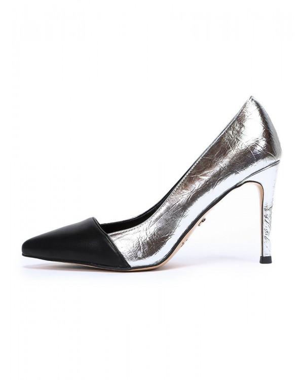 Туфли женские арт. 57-D608-G187-2 серебро/чёрный