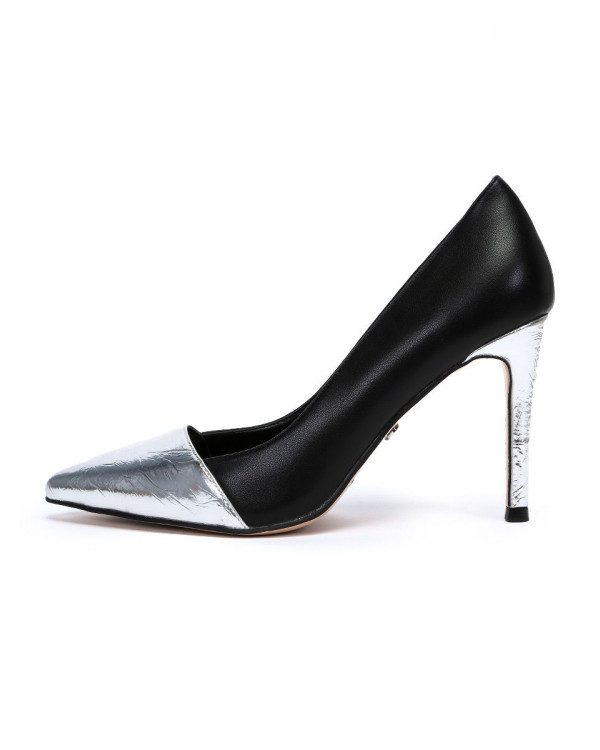Туфли женские арт. 57-D608-G187-3 чёрный/серебро