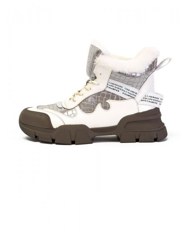 Ботинки женские арт. 57-H1294AM-K1505-1 белый/серебристый
