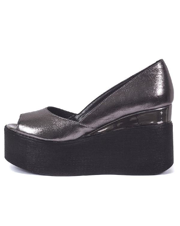 Туфли женские арт. 70-7777 тёмное серебро